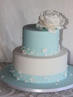 White wedding cakes with tiffany blue flowers | tiffany blue wedding cake cake with white blossom and piping detail ...