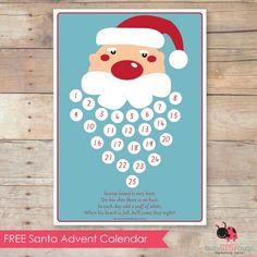 Free Santa Advent Calendar printable. Add a cotton ball to Santa's beard each day. So cute! :)