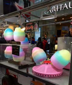 Cotton candy in rainbow colours! Candy Recipes, Cupcake Recipes, Galaxy Ice Cream, Cute Food, Yummy Food, Candy Sushi, Kawaii Dessert, Sweet Like Candy, Candy Brands