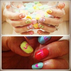 Conversation heart fingernail polish....Corinne, you need this pin for Lexi!