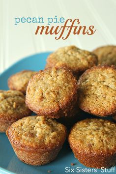 Pecan Pie Muffins Recipe on SixSistersStuff.com - perfect for a little snack, dessert, or breakfast! Only 5 ingredients!