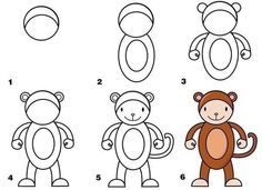 animals draw drawing zoo monkey learn animal drawings step directed african fabartdiy