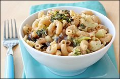 Roasted Veggie Mac & Cheese Ingredients: 2 cups cauliflower florets 2 cups broccoli florets Half of a medium red onion, cut into 1/2-inch-thick slices, rings intact 1/4 tsp. each salt and pepper 4 1/2 oz. (about 1 1/4 cups) uncooked high-fiber elbow macaroni 3 slices 2% milk American cheese 4 wedges The Laughing Cow Light Creamy Swiss cheese