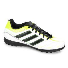 Chuteira Adidas Society Ezeiro III TRX TF - V24860 - Branco Preto Verde  Limão 84555c21449e6