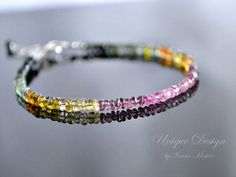 Watermelon tourmaline bracelet, sterling silver turmaline bracelet, stackable bracelet