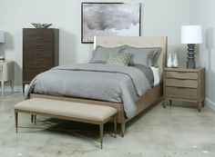 Modern Classics Queen Samuel Platform Bed in Oak Full Size Headboard, Queen Headboard, Tufted Headboards, Tufted Bed, Home Bedroom, Bedroom Furniture, Gold Bedding Sets, Bedroom Sets For Sale, Buy Bed