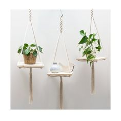 This macrame hanging shelf is handmade with neutral 100% cotton macrame cord and has a nice and sturdy ring for hanging. The shelf is made of pine wood with a clear varnish.   · Designed & handcrafted in the Netherlands · The hanging shelf is shipped in a gorgeous wrapped packaging. So its ready to give as a gift (to yourself ;) ). *****************************************  This macrame plant hanging measures:  · 110cm (43.5 inches) in length (from top to tail) Plant and pots not included…