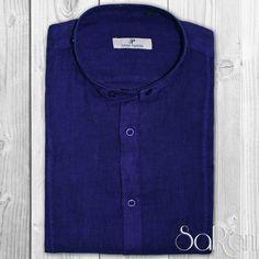 Camicia Uomo Casual Basic 100% Lino Collo Alla Coreana Manica Lunga Slim Fit Blu