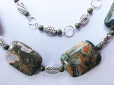 2Tiered Unakite with Tibetan Silver Leaves and by BeriMadeJewelry, $22.00