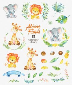 African Friends. Watercolor animals clipart lion by StarJamforKids