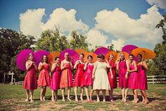 bridesmaid prop paper umbrella instead of flowers