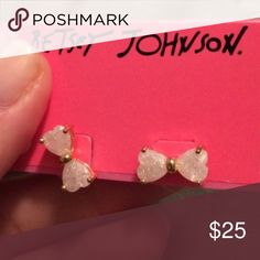 NWT Betsey Johnson Bow Sparkle Heart Stud Earrings NWT Betsey Johnson Sparkle Bow Heart Stud Earrings. Retail Price: $25.00 Betsey Johnson Jewelry Earrings