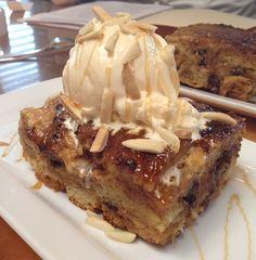 Take a peek into the Cheddar's Test Kitchen...croissant bread pudding a la mode.  Delish!