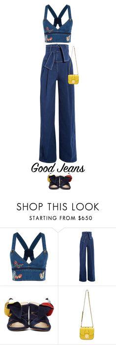 """Sara Battaglia Belted high-rise wide-leg jeans"" by esterp ❤ liked on Polyvore featuring Valentino, Sara Battaglia, Chloé and Miu Miu"