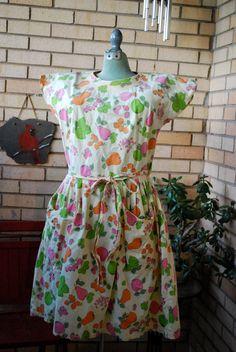 1950s vintage Swirl Wrap dress pale yellow by WVaTumbleweedVintage, $50.00