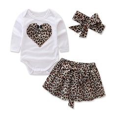 Limited Price for Infant Baby Girl Dress Heart Romper Tops+Leopard Skirt Baby Headband Outfits Set Long Sleeve Toddler Girl HOOLER Pric. Baby Outfits, Little Girl Outfits, Cute Outfits For Kids, Little Girl Fashion, Toddler Outfits, Cheap Girls Clothes, Cute Baby Clothes, Fall Clothes, Modelos Fashion