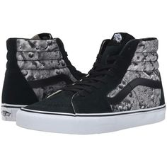 Vans SK8-Hi ((Moon) Black/ White) Skate Shoes (€36) ❤ liked on Polyvore featuring shoes, sneakers, vans, black, white leather sneakers, skate shoes, white shoes, black white shoes and leather shoes