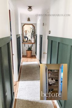 Learn how to makeover a narrow hallway with this DIY remodel from Christina Maria. By adding a board and batten wall and reclaimed wood, you can create a beautiful small space in your own house. Includes before and after pictures. Home Decor Inspiration, Hallway Inspiration, Decor Ideas, Diy Ideas, Decorating Ideas, Reclaimed Wood Shelves, Board And Batten, Do It Yourself Home, Diy Home Improvement