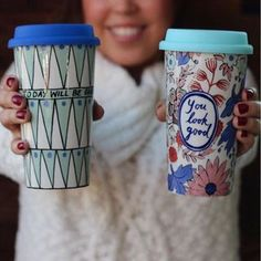 love these travel mugs - esp the left one!