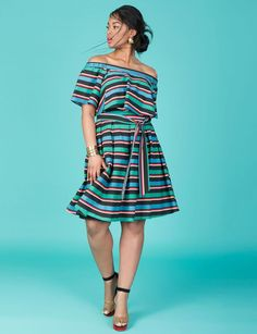 Studio Striped Ruffle Dress | All Things Bold and Beautiful Collection | Women's Plus Size Fashion | ELOQUII
