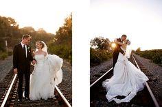 Dos Pueblos Ranch railroad track wedding photos