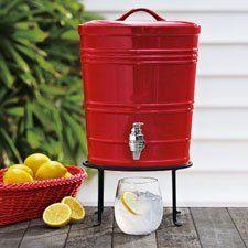 Red Ceramic Beverage Dispenser from Sur La Table