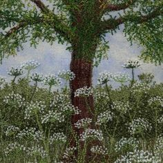 Cow Parsley Beneath the Tree hand embroidery on painted background by Jo Butcher Ribbon Embroidery, Embroidery Art, Cross Stitch Embroidery, Embroidery Patterns, Art Textile, Textile Artists, Graphic 45, Thread Painting, Free Machine Embroidery