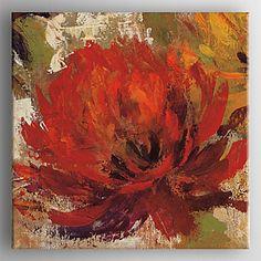 lienzo pintado a mano pintura al óleo moderna abstracta pintura de flores con estirada enmarcado listo para colgar – USD $ 90.99