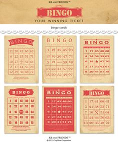 Digital Vintage Style Bingo Cards for Crafts / printable red and tan bingo cards / two sizes / insta Valentine Bingo, Vintage Valentines, Valentine Crafts, Vintage Labels, Vintage Cards, Friend Bingo, Scrapbook Paper, Scrapbooking, Bingo Night