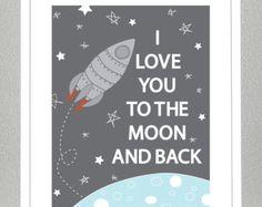 Raketenschiff liebe dich zum Mond und zurück von CreativeWildChild