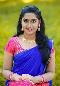Cute Girl Image, Desi Girl Image, Girls Image, Pink Half Sarees, Indian Beauty Saree, Indian Sarees, Indian Long Hair Braid, Half Saree Designs, Girls Gallery