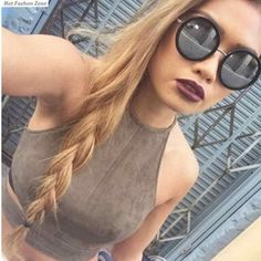 Find More Tank Tops Information about 2016 New Fashion Women Sexy Cropped Halter Crop Top Lady Off Shoulder Solid Camisole Suede to ukraine also,High Quality fashion womens leather jackets,China fashion intelligence Suppliers, Cheap women fashion vest from Hot Fashion Zone on Aliexpress.com