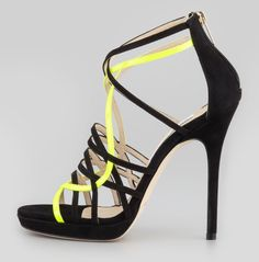 Jimmy Choo Myth Strappy Suede Sandals in Black (black/yellow) - Lyst