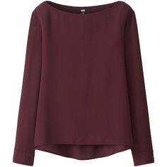 UNIQLO Silk Touch Boat Neck T Blouse (6 colours) (1.925 RUB) ❤ liked on Polyvore featuring tops, blouses, brown silk blouse, boatneck blouse, loose tops, boat neck tops and boat neck blouse