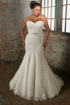 Best I love how it us fitted but not the flare Beaded Fit and flared Trumpet Sweetheart Court Train Lace Plus Size Wedding Dress Didobridal