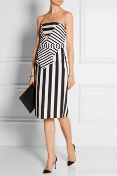 CUSHNIE ET OCHS Striped tech-jersey strapless dress