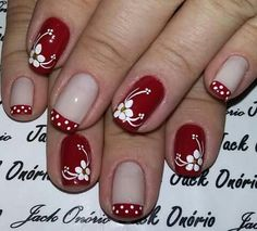 Vermelho e branco! Fancy Nails, Cute Nails, Pretty Nails, Beautiful Nail Designs, Beautiful Nail Art, Toe Nail Art, Easy Nail Art, Shellac Nails, Pink Nails