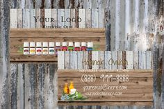 Young Living Essential Oils  Light Blue Rustic Wood Background  Business Card    Printable   Download   Personalized by ShesBackAtIt on Etsy