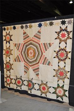 antique lone star quilt with interesting border treatment