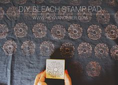 Make your own bleach stamp pad out of felt and rubber bands to be able to create patterns on fabric with regular stamps. So easy!