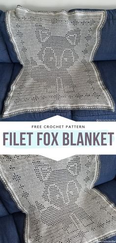 How to Crochet Filet Fox Blanket - - Foxes and baby accessories always go well together! We can certainly prove that with today's collection of Foxy Baby Accessories. Crochet Pattern Free, Crochet Patterns Filet, Crochet Ideas, Crochet Edgings, Crochet Tunic, Freeform Crochet, Crochet Dresses, Crochet Tops, Crochet Motif