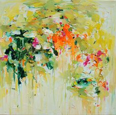 Gardening June giclee print from abstract oil painting  12x12