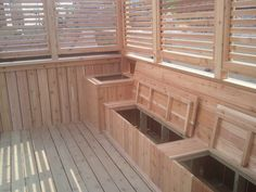 adding bench seating to your deck- Extra storage space Deck Seating, Outdoor Seating, Outdoor Areas, Deck Benches, Porch Storage Bench, Outdoor Storage, Wood Storage, Design Cour, Pergola