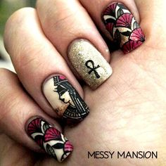 Egyptian Nail Art (using Stamp Plates)