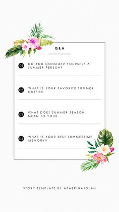 Instagram Story Template - Q&A - Summer Edition