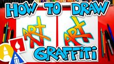 How To Draw The Word Art (Simple Graffiti Style) + Challenge Time - pinnervoir Graffiti Names, Graffiti Words, Graffiti Characters, Graffiti Drawing, Graffiti Styles, Graffiti Lettering, Street Art Graffiti, Hand Lettering, Art For Kids Hub