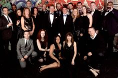 Online Support's Christmas Party team photo.  The part was in Battersea, London
