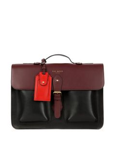 Mixed leather satchel