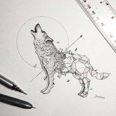 Kerby Rosanes is a superb talented illustrator based in Manila, capital of the Philippines. What he loves above all in illustration is the sensation of his pencils on a sheet of paper. He just finished a new series of illustrations he called Geometri … - Geometric Drawing, Geometric Shapes, Geometric Animal, Geometric Wolf Tattoo, Tattoo Abstract, Geometric Sleeve, Mandala Tattoo, Animal Drawings, Art Drawings