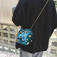 0fe239824467 Green Studded Bucket Handbags Faux Leather Bag with Scarf in 2019 ...